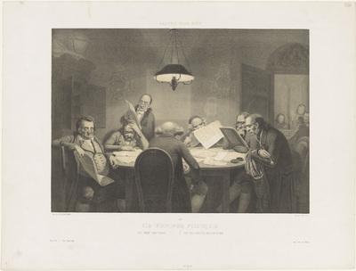 Lezende mannen rond een tafel; Les profonds politiques / The deep politicians / Die vollendeten Staatsmanner; Humoristische voorstellingen; Galerie pour rire