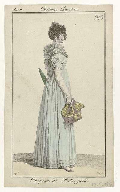 Journal des Dames et des Modes, Costume Parisien, 19 mai 1803, An 11, (471): Chapeau de Paille perlé