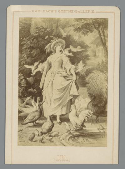 Fotoreproductie van een tekening van Lili uit een gedicht van Johann Wolfgang Goethe; Lili (Lili's Park); Kaulbach's Goethe-Gallerie