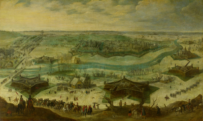 Image from object titled The Siege of a City, possibly the Siege of Jülich by the Spaniards under Hendrik van den Bergh, 5 September 1621 - 3 February 1622