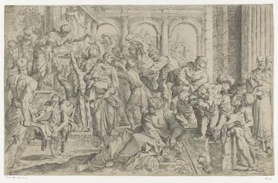 De heilige Rochus deelt aalmoezen uit