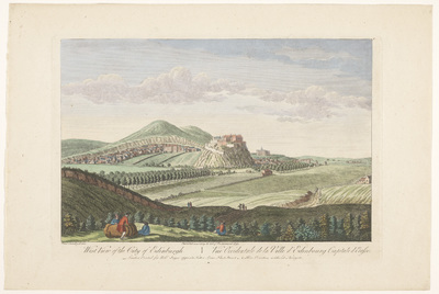 Gezicht op de stad Edinburgh; West view of the city of Edinburgh; Schotland