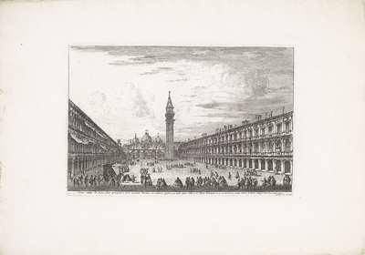 Piazza San Marco te Venetië; Forum maius D: Marci aliler prospectum cum eiusdem Basilica in extrema parte (...); Gezichten op Venetië; Magnificentiores selectioresque urbis Venetiarum prospectus
