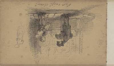 Jongen met een beeld onder de arm en een man voor een etalage met schilderijen