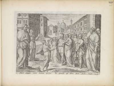 Daniël gaat in tegen veroordeling van Susanna; Geschiedenis van Susanna; Theatrum Biblicum Hoc Est Historiae Sacrae Veteris et Novi Testamenti Tabulis Aeneis Expressae