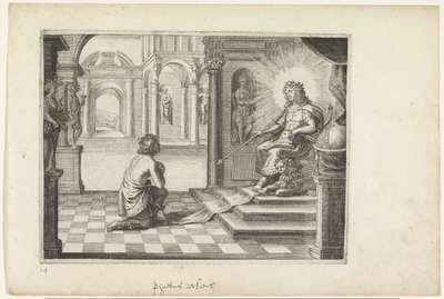 Phaëthon vraagt zijn vader of hij in diens zonnewagen mag rijden; Metamorfosen van Ovidius