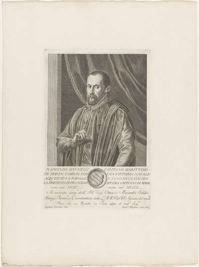 Portret van Raimondo Mannelli; Portretten van beroemde Italianen met wapenschild in ondermarge