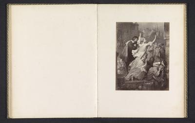 Fotoreproductie van een prent van een scene uit Egmont, voorstellende Clärchen die de inwoners van Brussel aanspoort