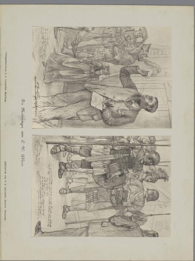 Twee fotoreproducties van tekeningen, voorstellende inspiciënt Brehms spreekt acteurs toe; Die Meininger von C. W. Allers