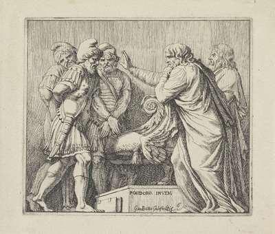 Twee senatoren spreken tegen de overwonnen koningen; Scènes uit de Romeinse geschiedenis