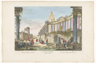 Gezicht op de ruïne van een zuilengalerij te Rome; 16e. Vüe d'optique representant vue des ruines de Rome