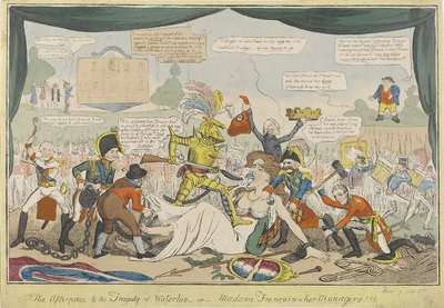 Image from object titled Frankrijk in handen van de bondgenoten, 1815; The afterpeice to the tragedy of Waterloo-or- Madame Françoise & her managers!!!