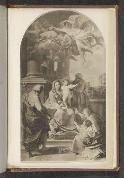 Fotoreproductie van een schilderij, voorstellende Maria met Kind en heiligen