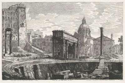 De Zuil van Phocas op het Forum Romanum; Veduta dello scavo della Colonna di Foca