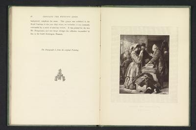 Fotoreproductie van een schilderij van een vrouw die textiel uitzoekt voor een trouwjurk door William Mulready; Choosing the wedding-gown