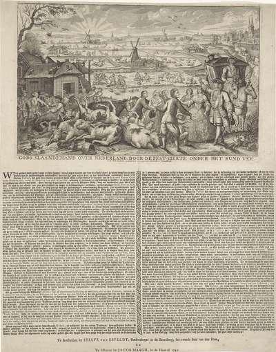 Boeren getroffen door runderpest, 1745; Gods slaande hand over Nederland, door de pest-siekte onder het rund vee