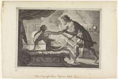 Cinyras valt zijn dochter Myrrha aan; Metamorfosen van Ovidius