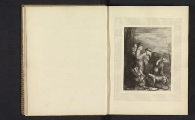 Fotoreproductie van een prent naar het schilderij Giving a Bite door William Mulready