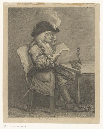 Man leest de krant met een kaars; The politician