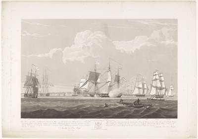 Vertrek van twaalf Nederlandse koopvaardijschepen uit de haven van Portsmouth, 1833 (plaat 3); Dit stel van drie platen voorstellende het vetrek uit de Haven van Portsmouth op den 2.d Juny 1833 van 12 Nederlandsche...