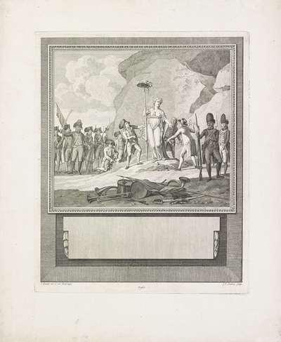 Standbeeld van de Vrijheid door Fransen en Batavieren versierd en beschermd, 1795