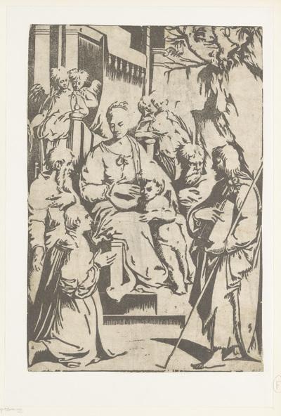 Maria met kind omringd door heiligen