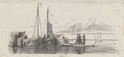 Drie aangelegde schepen met figuren aan het werk