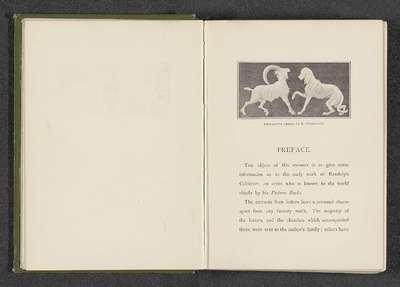 Fotoreproductie van een decoratie van een hond en een ram door Randolph Caldecott; Decorative design by R. Caldecott