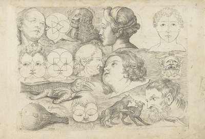 Image from object titled Studieblad met tekenvoorbeelden: koppen en dieren