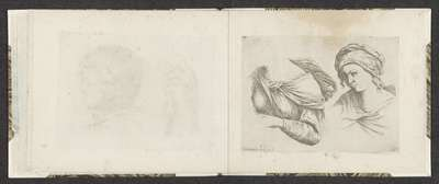 Bovenlichaam van een vrouw en buste van een vrouw; Tekenvoorbeelden; Mitelli intaglio