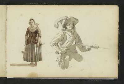 Boerin en een man in zeventiende-eeuwse kleding