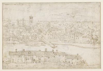 Image from object titled Landschap met gezicht op dorp aan rivier