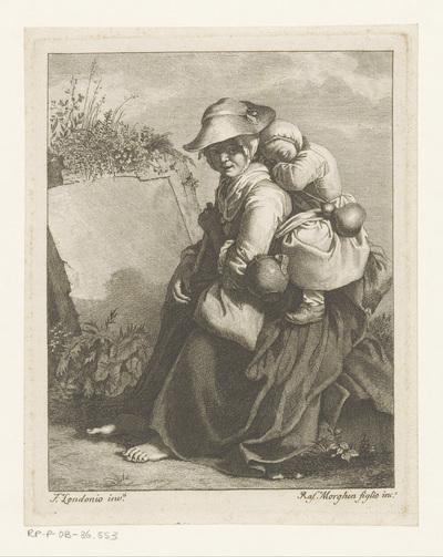 Vrouw met slapend kind op de rug, bij steen gezeten