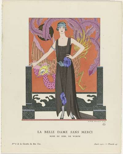 Gazette du Bon Ton, 1921 - No. 6, Pl. 47:  La belle dame sans merci / Robe du soir, de Worth
