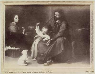 Fotoreproductie van een schilderij door Bartolomé Esteban Murillo, voorstellend de Heilige Familie met een vogel; B.E. MURILLO.- Sainte famille à l'oiseau (au Musée du Prado).