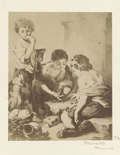 Fotoreproductie van (vermoedelijk) een schilderij van Bartolomé Esteban Murillo, voorstellend dobbelende kinderen; Murillo Munich