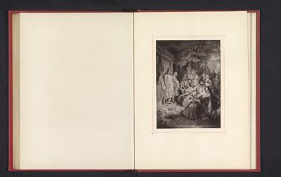 Fotoreproductie van een tekening, voorstellende Johann Wolfgang von Goethe wordt gelauwerd door een gezelschap te Weimar
