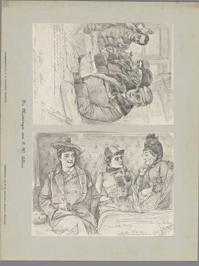 Twee fotoreproducties van tekeningen, voorstellende een portret van vijf kaartspelende acteurs in een treincoupé en een portret van drie acteurs in een treincoupé; Die Meininger von C. W. Allers