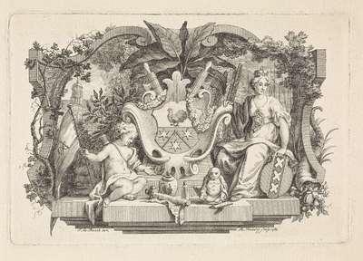 Allegorie met het wapen van familie Calkoen