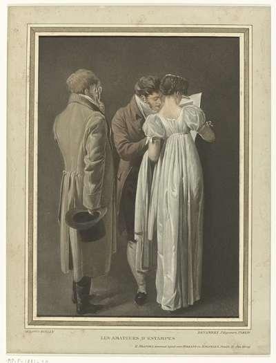 Drie bezoekers bekijken een prent; Les Amateurs d'estampes