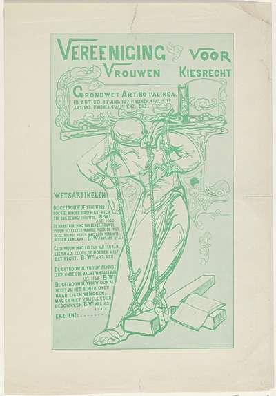 Pamflet van de Vereeniging voor Vrouwenkiesrecht, ca. 1916