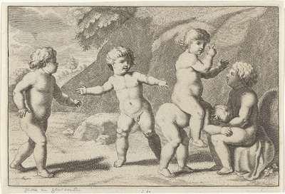 Paardje rijden; Spelende kinderen (serie B)