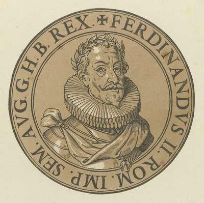 Medaillon met een portret van keizer Ferdinandus II; Icones imperatorum Romanorum