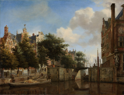 Image from object titled Amsterdam City View with Houses on the Herengracht and the old Haarlemmersluis