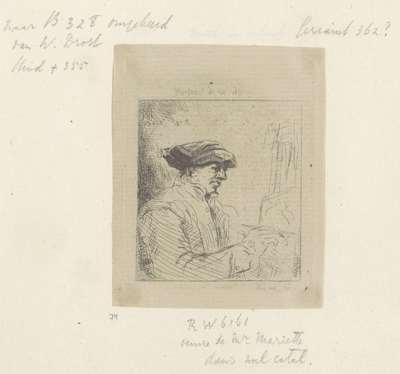 Zelfportret van Willem Drost voor de ezel; Recueil de quatre-vingt-cinq estampes originales