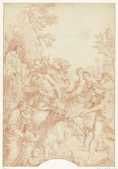 H. Benedictus als kluizenaar ontvangt geschenken van landlieden
