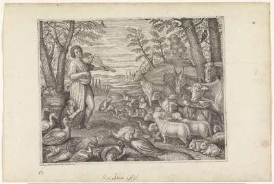 Orpheus betovert de dieren met zijn muziek; Metamorfosen van Ovidius