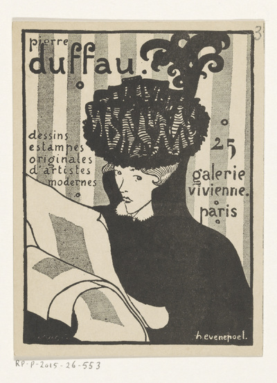 Visitekaartje van kunsthandelaar Pierre Duffau te Parijs