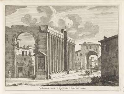 Colonnade van de San Lorenzo te Rome; Columnae ante Templum S. Laurentii; Magesyn der Italiaense gebouwen