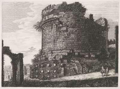 Tombe van Caecilia Metella te Rome; Veduta del Gran Sepolcro di Cecilia Metella situato nella Via Appia